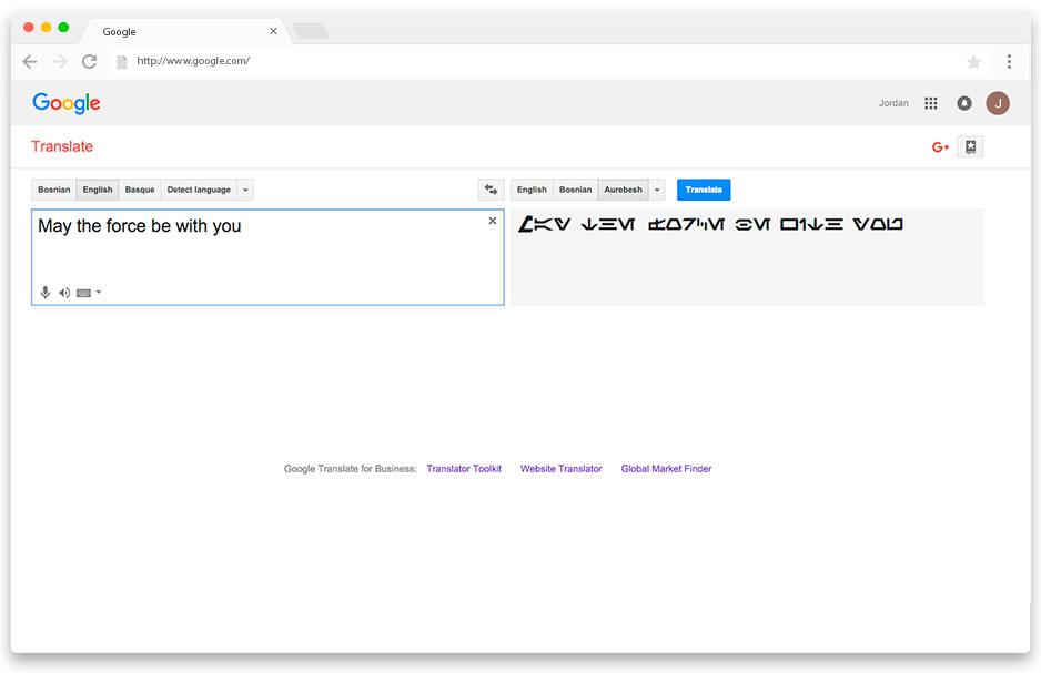 Google Translate allowed fans to translate to Aurebesh