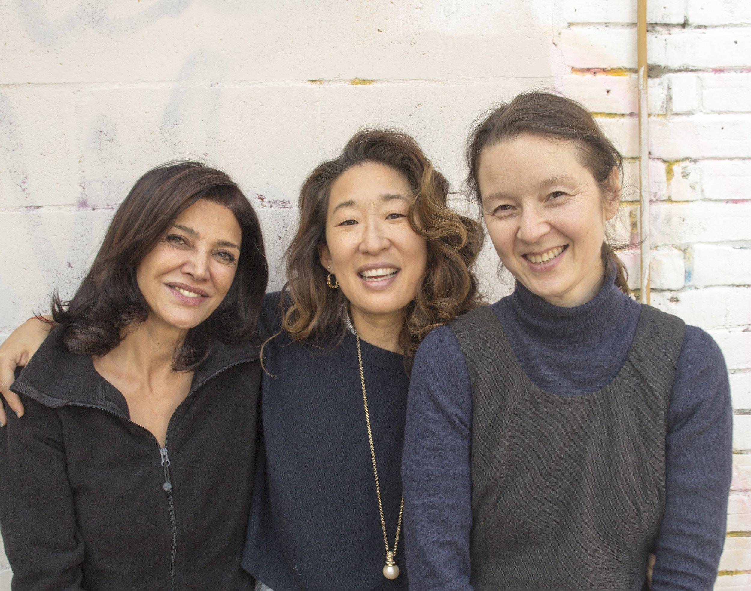 Shohreh Agdashlloo, Sandra Oh, and Ann Marie Fleming, outside The Dark Studio, Toronto.