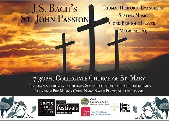 St. John passion by Bach. We will be performing tonight at 7:30, in St. Mary's Collegiate Church. Come and join us!