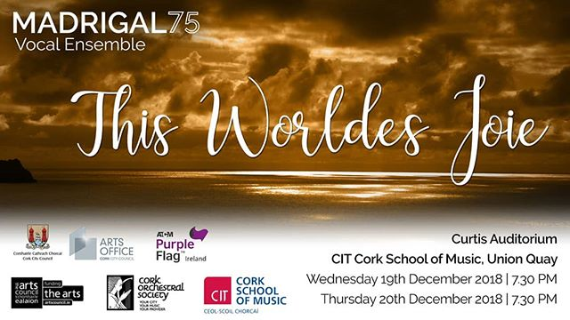 So excited to announce details of our popular Christmas concerts! This year's programme 'This Worldes Joie' will be presented in CIT Cork School of Music on 19th and 20th of December. Tickets will be available from Saturday 24th November on our website madrigal75.net/christmas-2018  #Madrigal75 #ChristmasConcert #ChristmasChoir #ThisWorldesJoie
