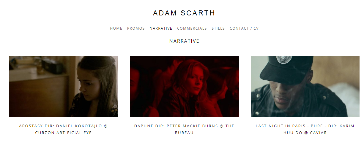 Filmmaker portfolio example - made on Squarespace