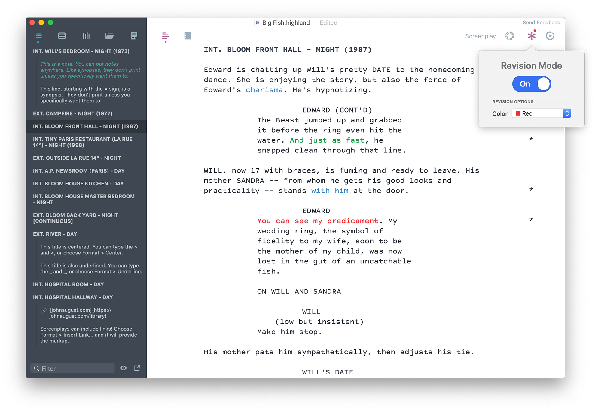 Screenshots of the script writing app Highland 2