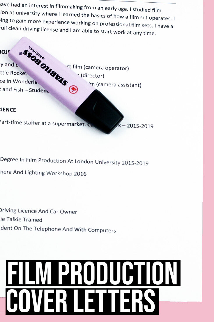 How To Write A Film Production Cover Letter Free Examples Amy Clarke Films