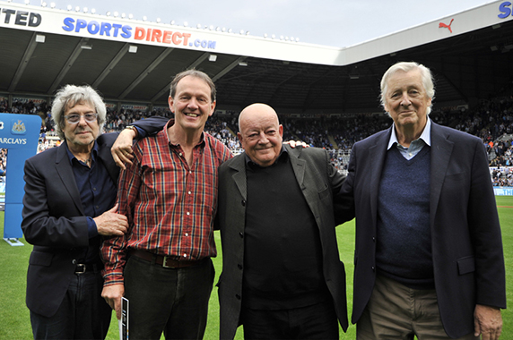 Then off to St James Park... Ian and Dick gather on the pitch with Kevin Whately (Neville) and Tim Healy (Dennis).