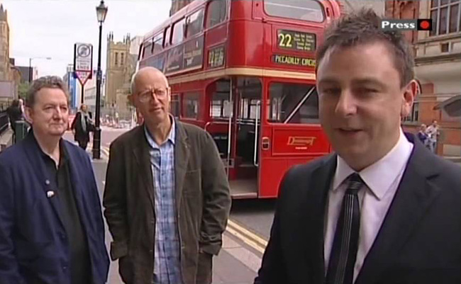 Chris Phipps and Ray Laidlaw looking smug with BBC  Look North 's Damian O'Neil.
