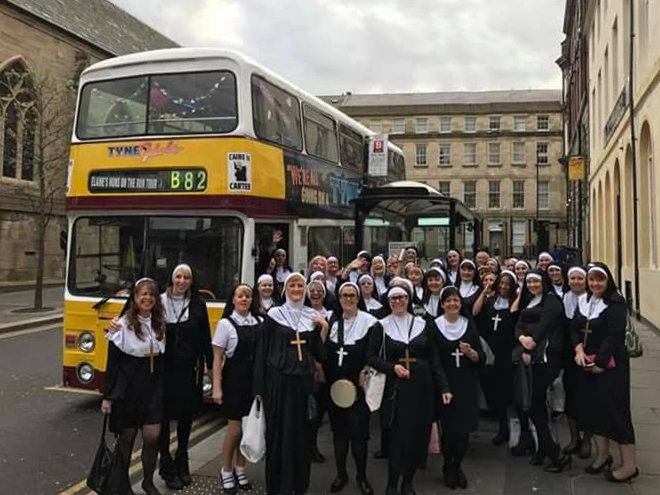 We entertain private bookings of all kinds, and this hilarious 22 April  Nuns On The Run  party set off appropriately enough from opposite the Cathedral.