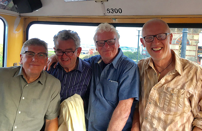 A happy trio of special guests hogging the Coastal Heroes tour back seat with host Ray Laidlaw. Left to right: Marty Craggs, Billy Clark, Billy Mitchell and Ray.