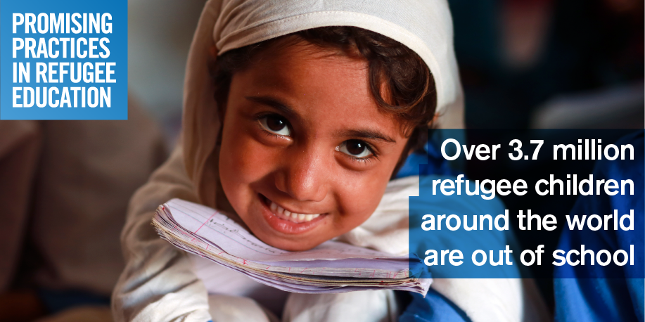 Share this image with:  Over 3.7M refugee children around the world are out of school. Submit your #promisingpractices www.promisingpractices.online