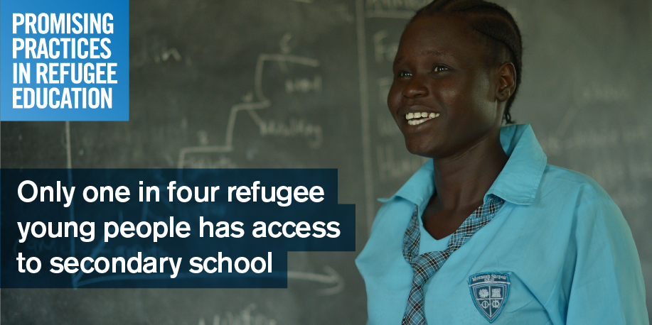 Share this image with:  Only 1 in 4 refugee young people has access to secondary school. Submit your #promisingpractices www.promisingpractices.online