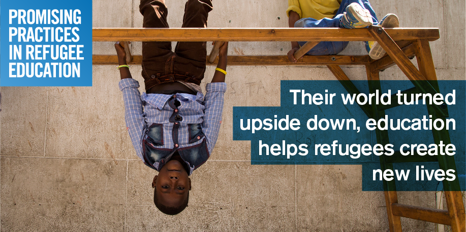 Share this image with:  Their world turned upside down, education helps refugees create new lives. Submit your #promisingpractices www.promisingpractices.online