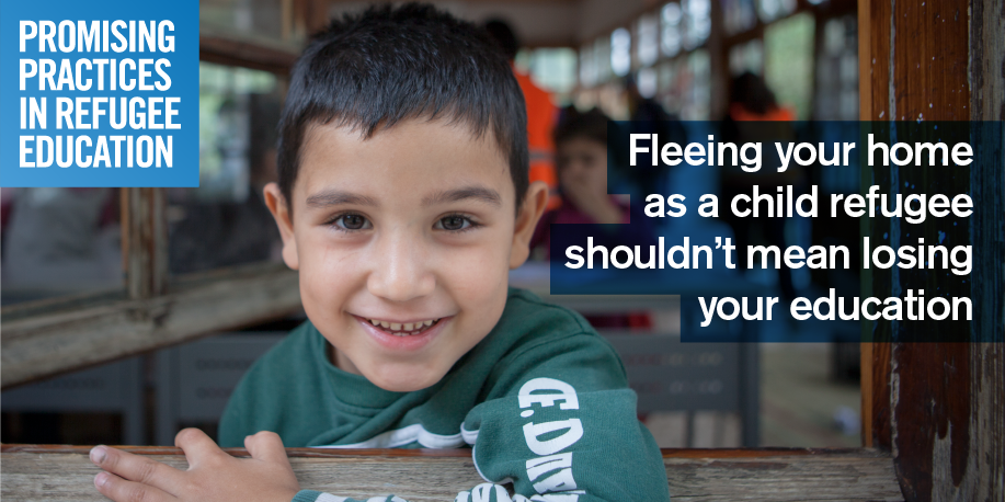 Share this image with:  Fleeing your home as a child refugee shouldn't mean losing your education. Submit your #promisingpractices www.promisingpractices.online