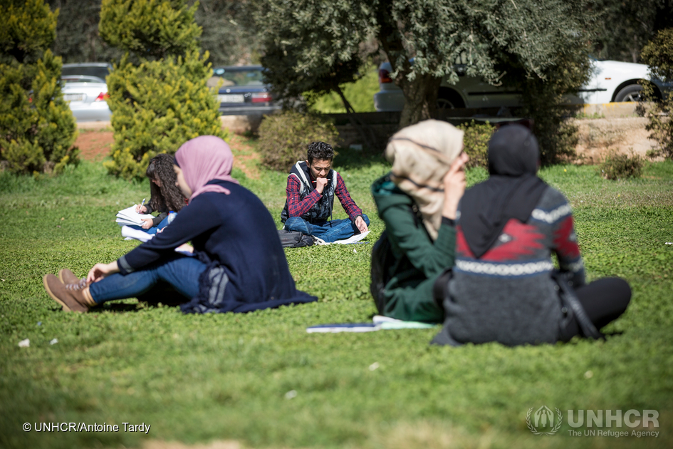 Syrian refugee student on University of Jordan campus in Amman