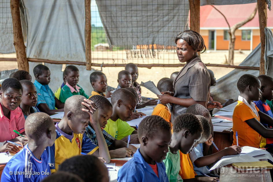 A temporary elementary in Bidibidi refugee settlement in Yumbe district in Northern Uganda
