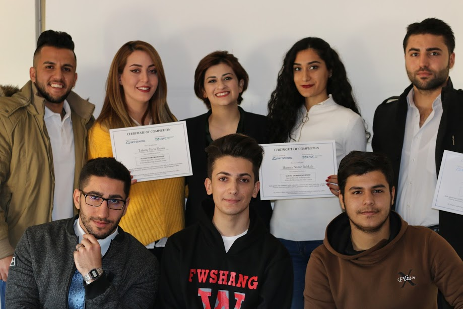 The graduates of the Sky School pilot course in Amman (Jordan), in December 2017.