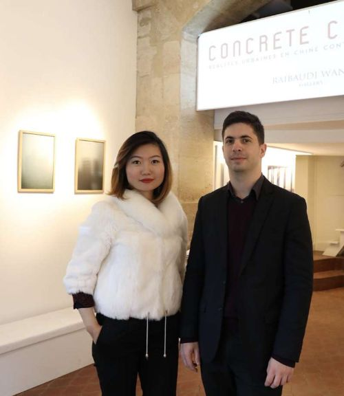 Gallery owners Alexandre Raibaudi and Wang Xiaokun