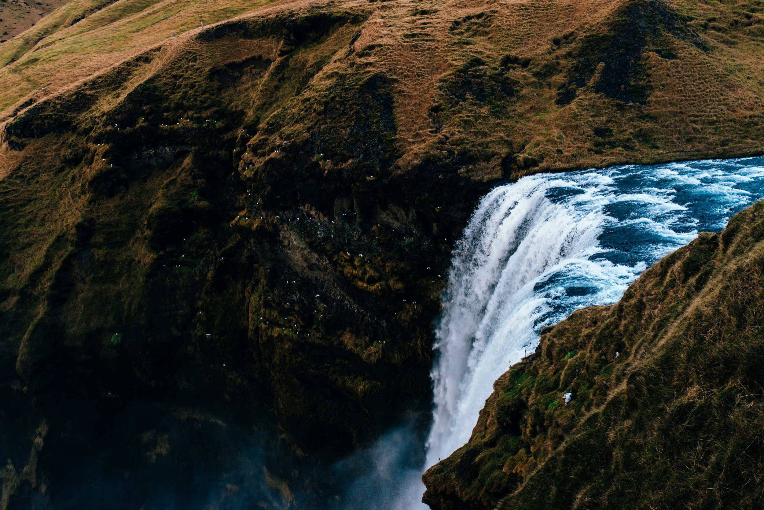 Skogafoss from above. We sure worked those quads climbing up those stairs, but it was well worth the view.
