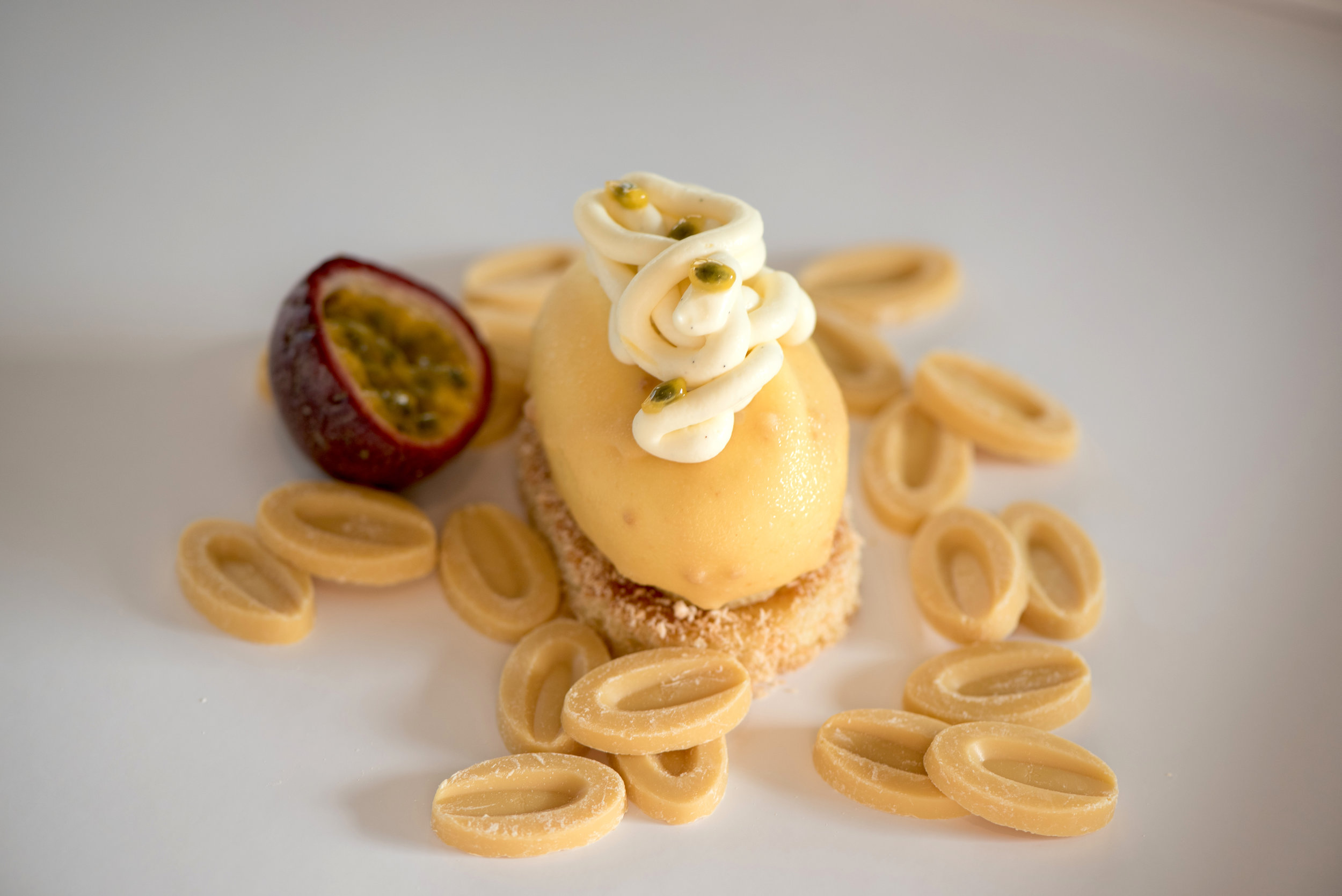 Passion Fruit Cheesecake, Whipped Ivory Noodles