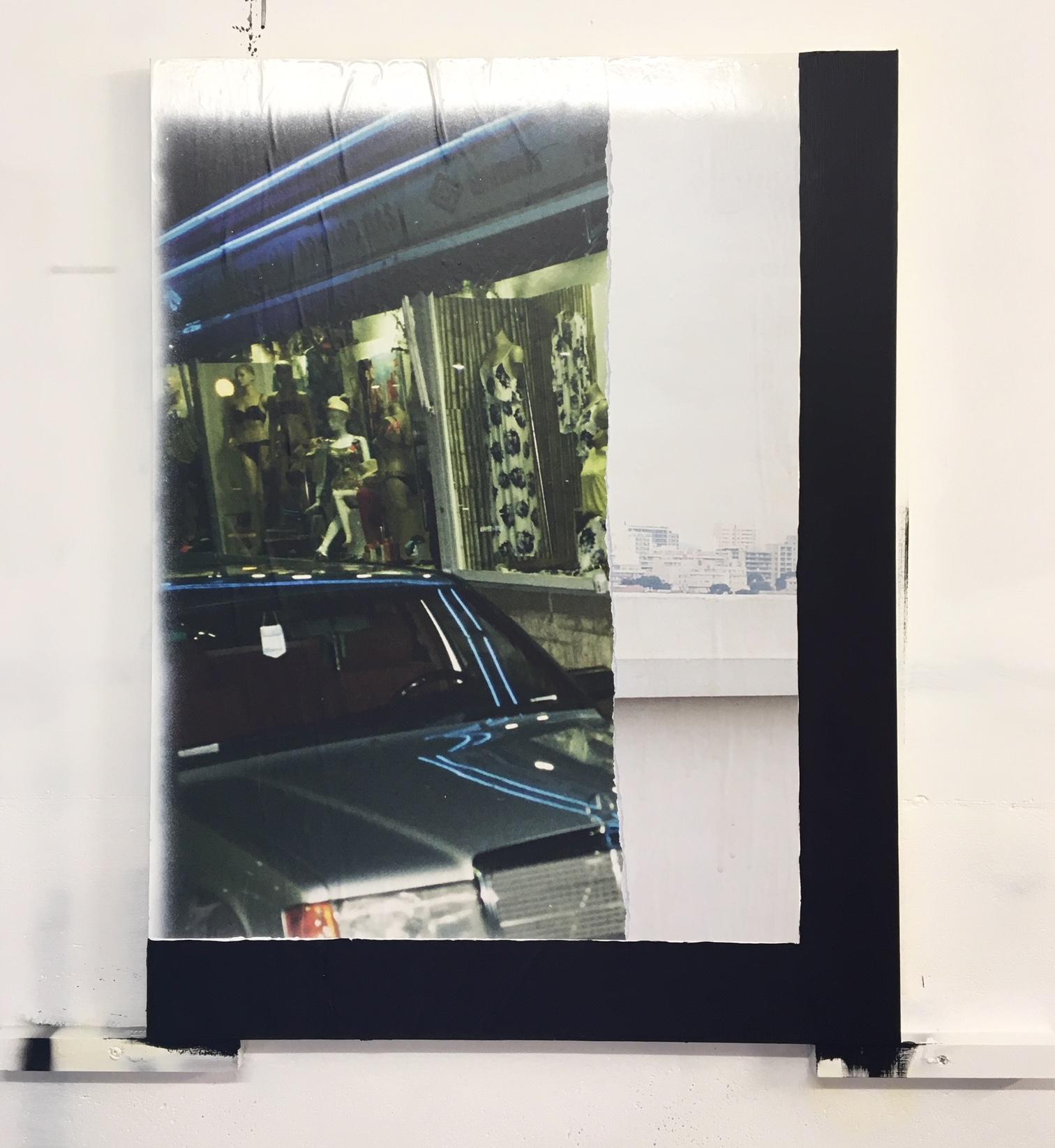 Fragment #7 - Benidorm (ES), Marseille (FR) - 80 x 60 cm Magistra blueback 120 gr., acrylics, wall paste on hard board. 2018 | © MAX KESTELOOT