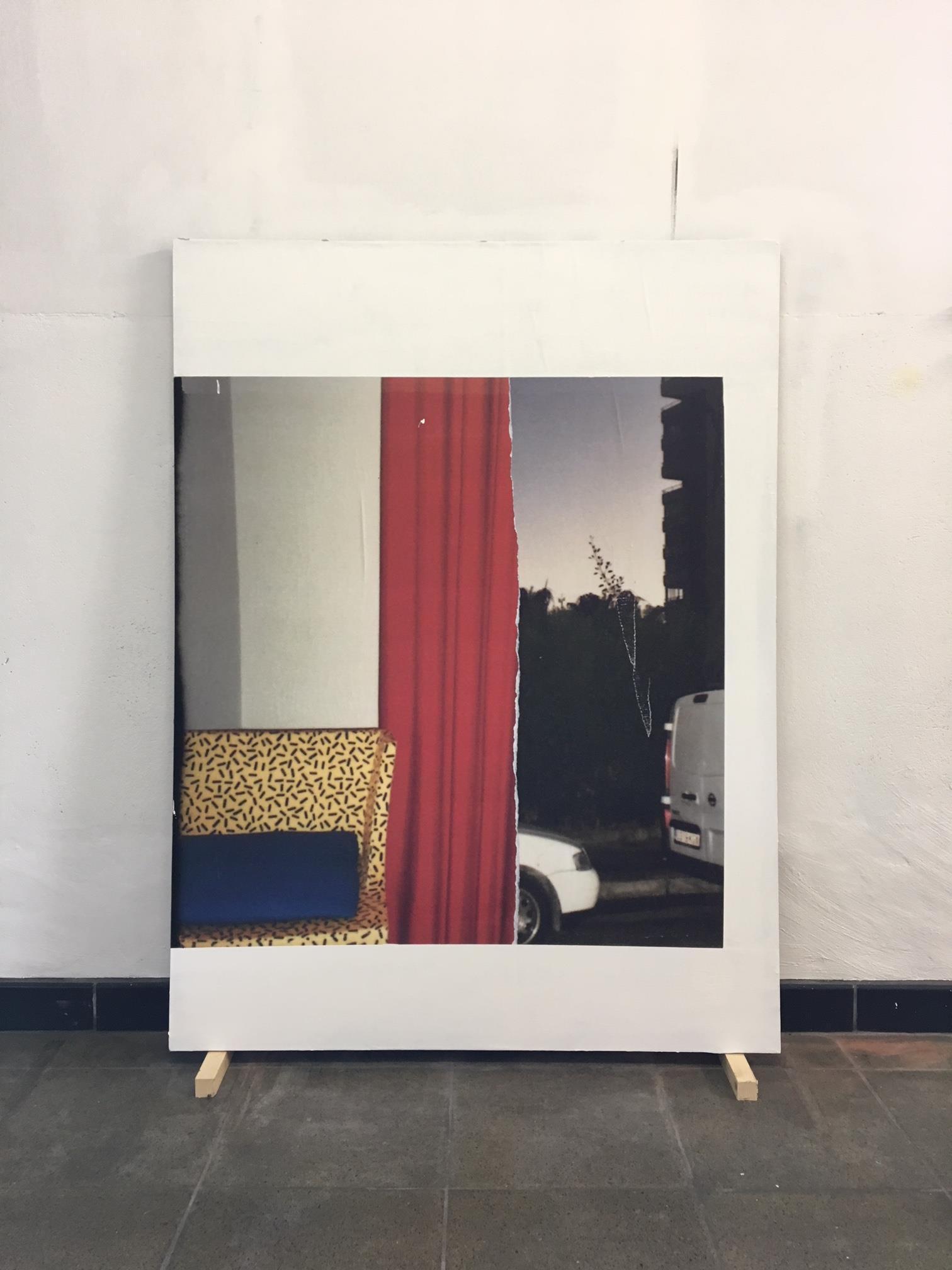 Fragment #11 - Memphis wheels Milano (IT), Benidorm (ES) 120 x 90 cm Magistra blueback 120 gr., acrylics, wall paste on hard board. 2018 | © MAX KESTELOOT