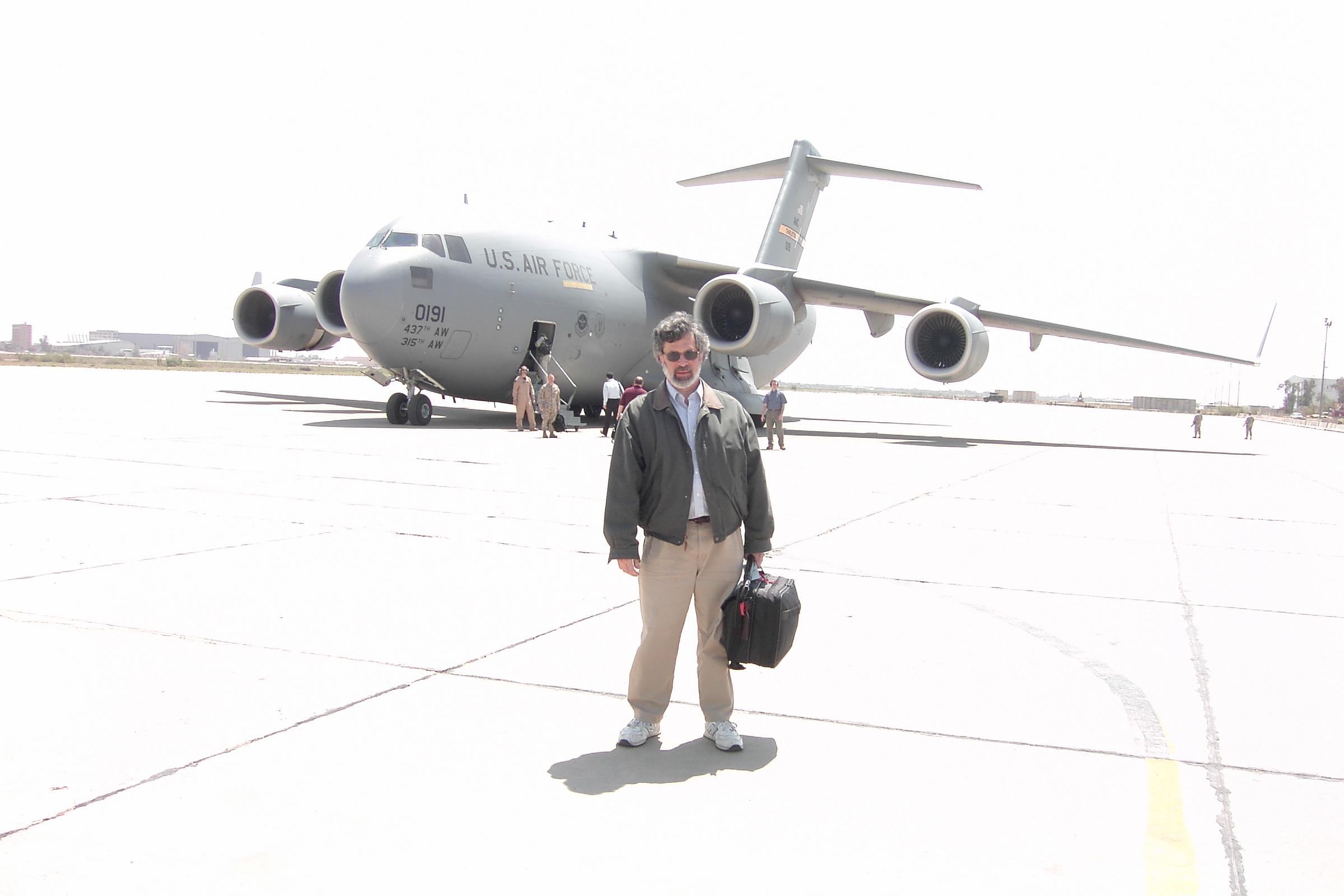Boarding a C-17.