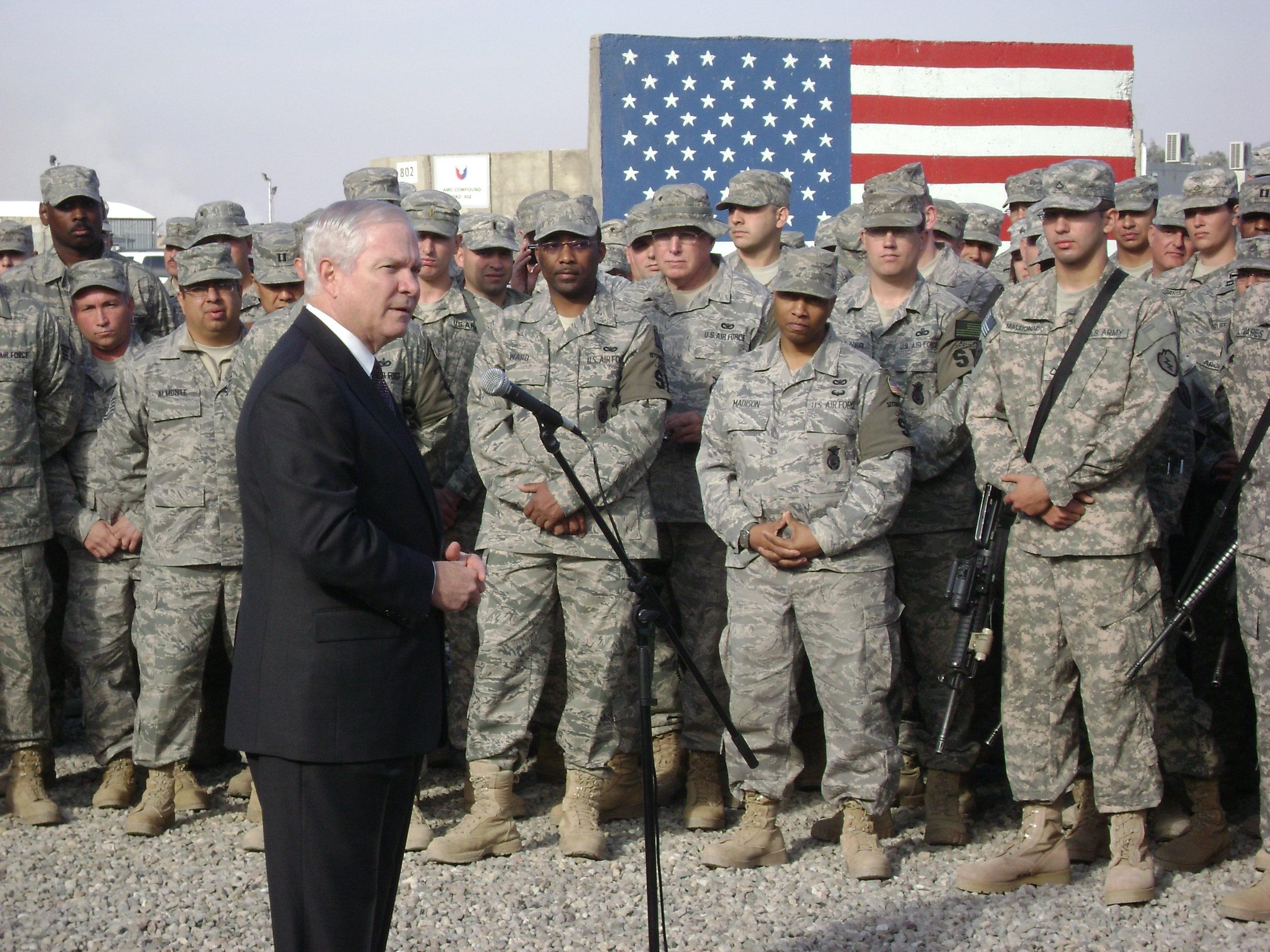 Sec Gates speaks to the troops, forward operating base, Afghanistan, 2009.