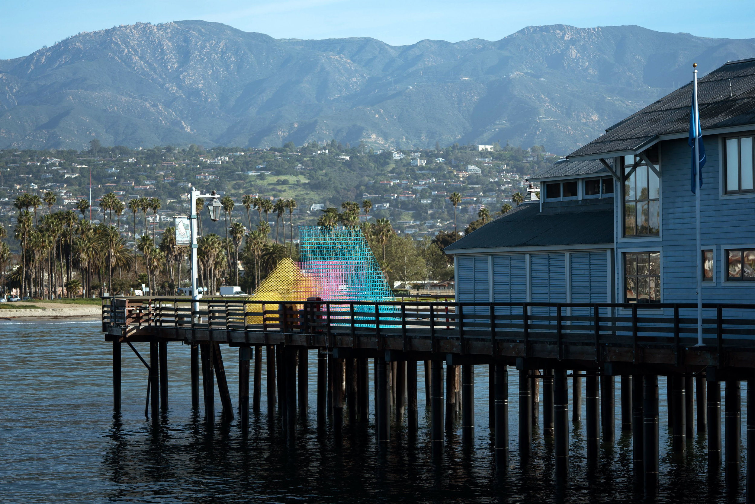 Runaway  at Stearns Wharf with the Santa Ynez Mountains in the background. Photograph from Elliot Lowndes.