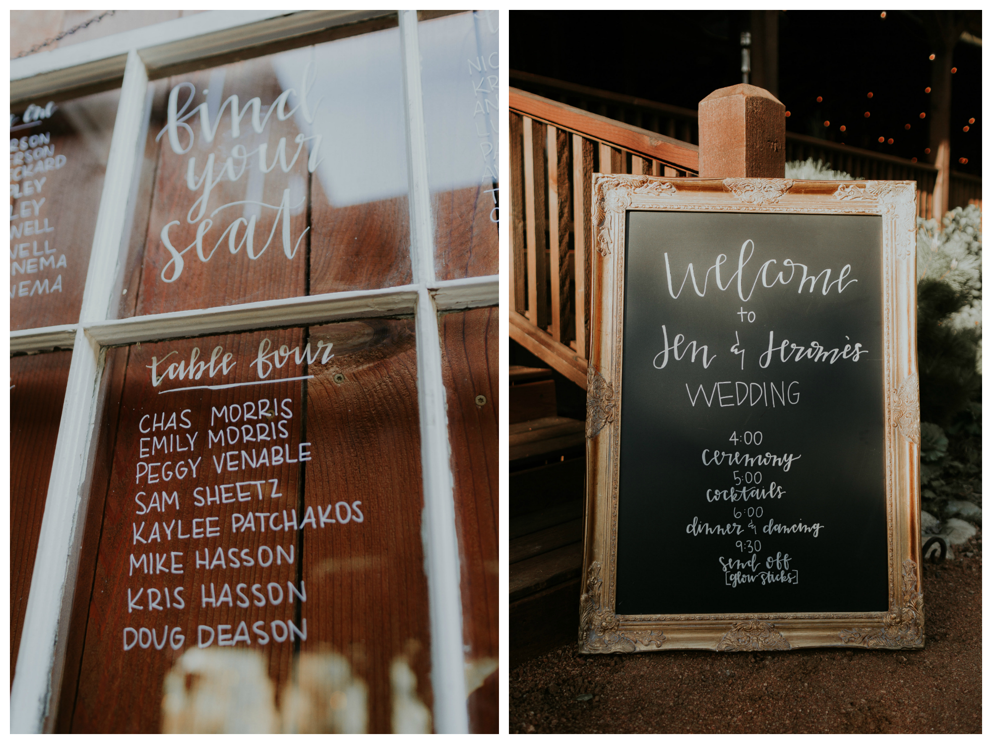 wedding seating chart and program