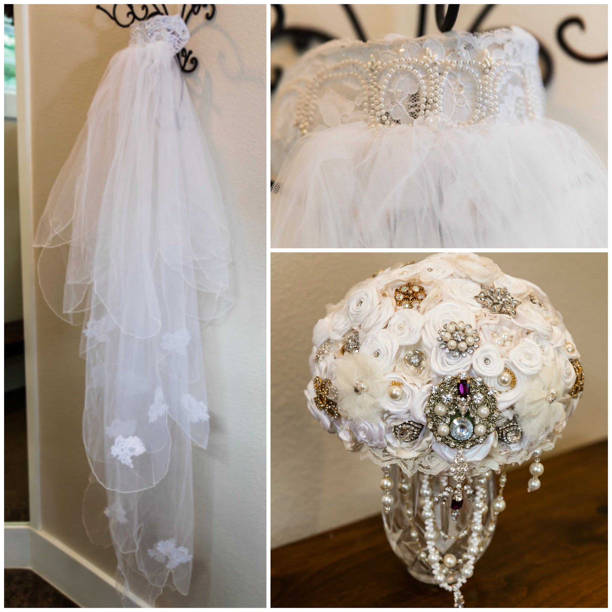 vintage veil handmade bouquet gatsby