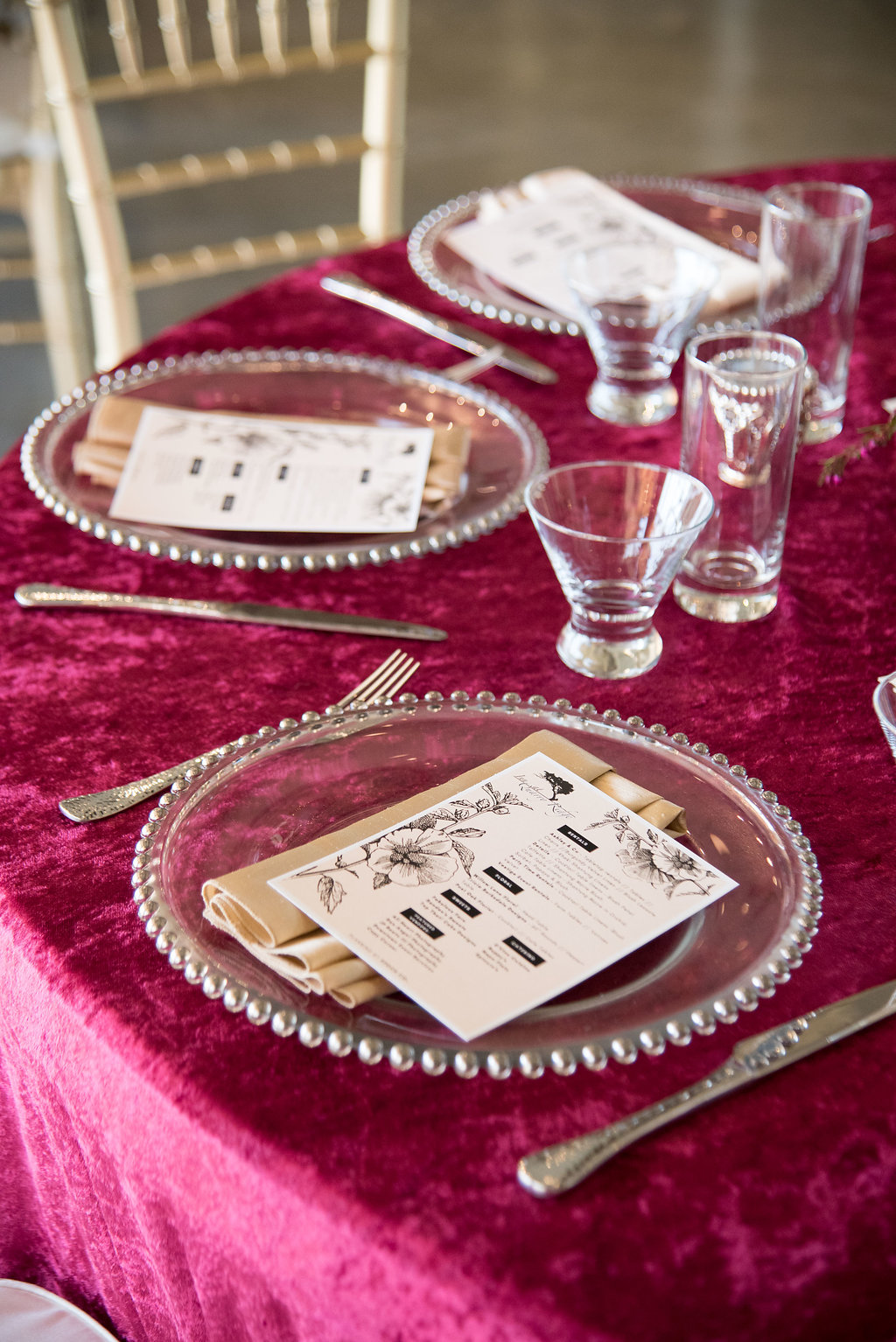 Burgundy Velvet Linens for Spring Wedding Inspiration by Epoch Co at Inn at Quarry Ridge