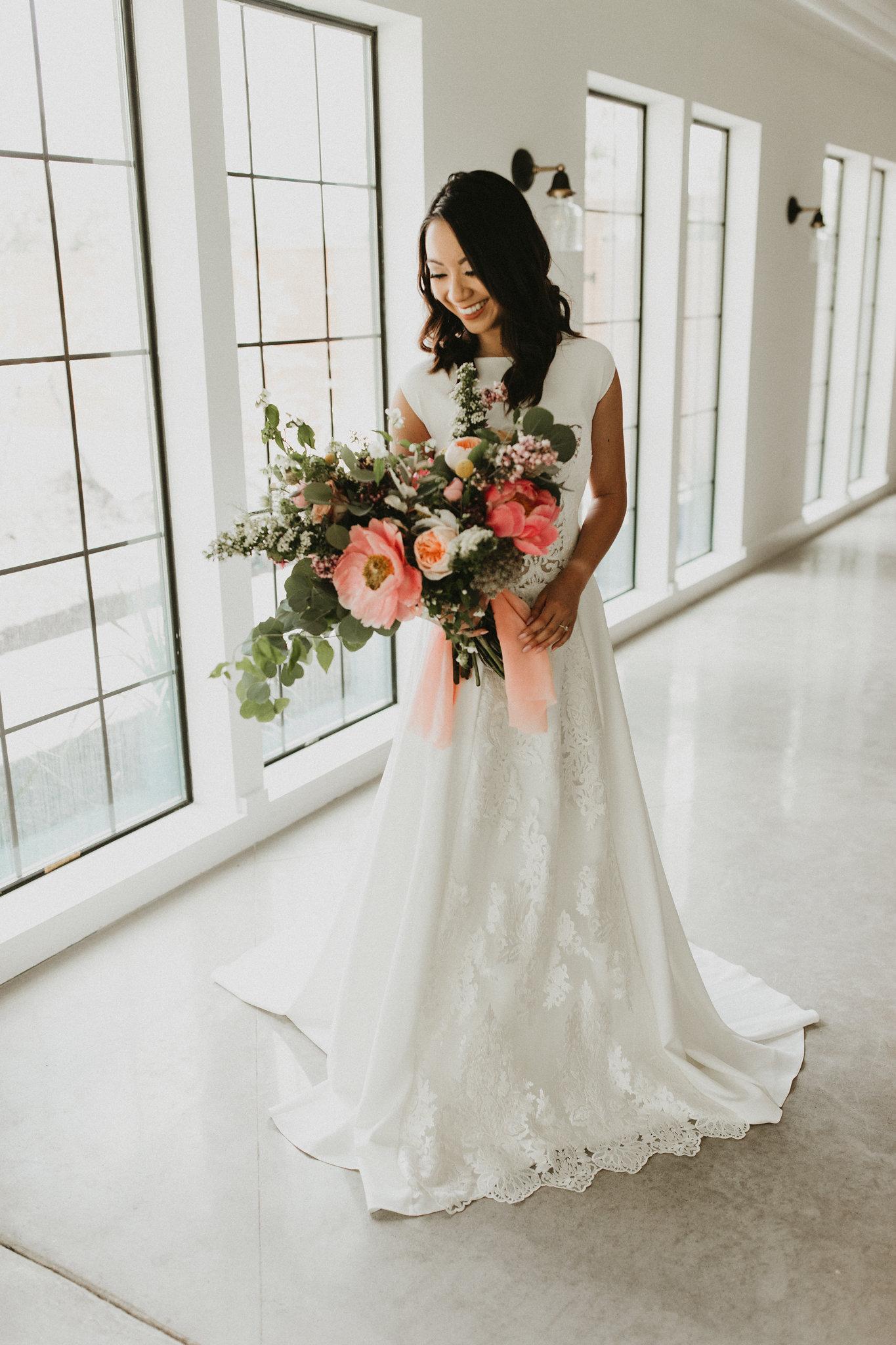 peony pink peach bridal bouquet college station wedding planner epoch co