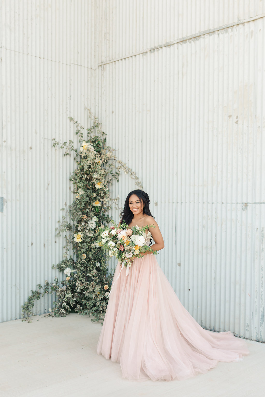 blush wedding dress the gin industrial wedding venue epoch co college station wedding coordinators