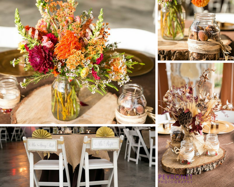 fall rustic mason jar centerpieces dried floral wood slabs burlap texas wedding at double creek crossing epoch co