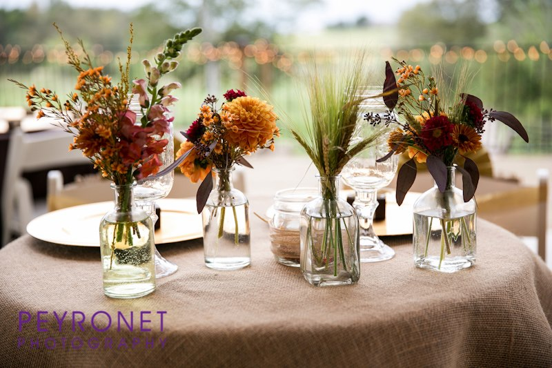 fall rustic sweetheart table bud vase burlap double creek crossing college station wedding epoch co peyronet photography