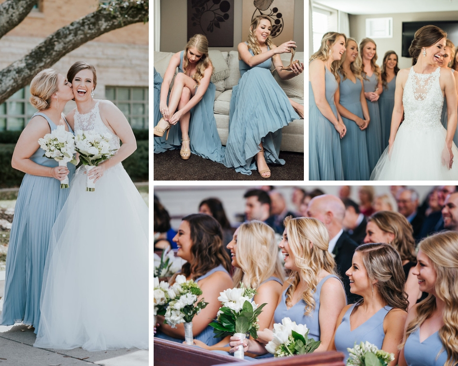 bride tribe wedding day images dusty blue bridesmaid dresses college station wedding coordinator epoch co