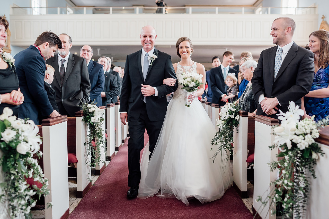 bride and father walking down the aisle st marys catholic church college station aggie wedding epoch co theo graphics