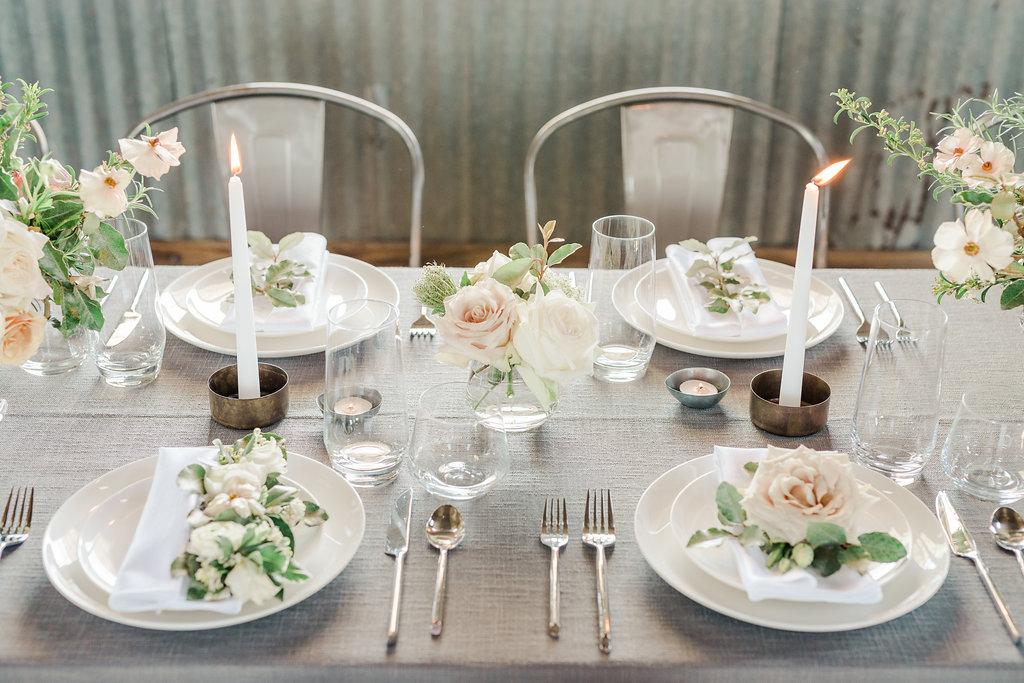 modern industrial minimal tablesetting inspiration designer + wedding planner epoch co+