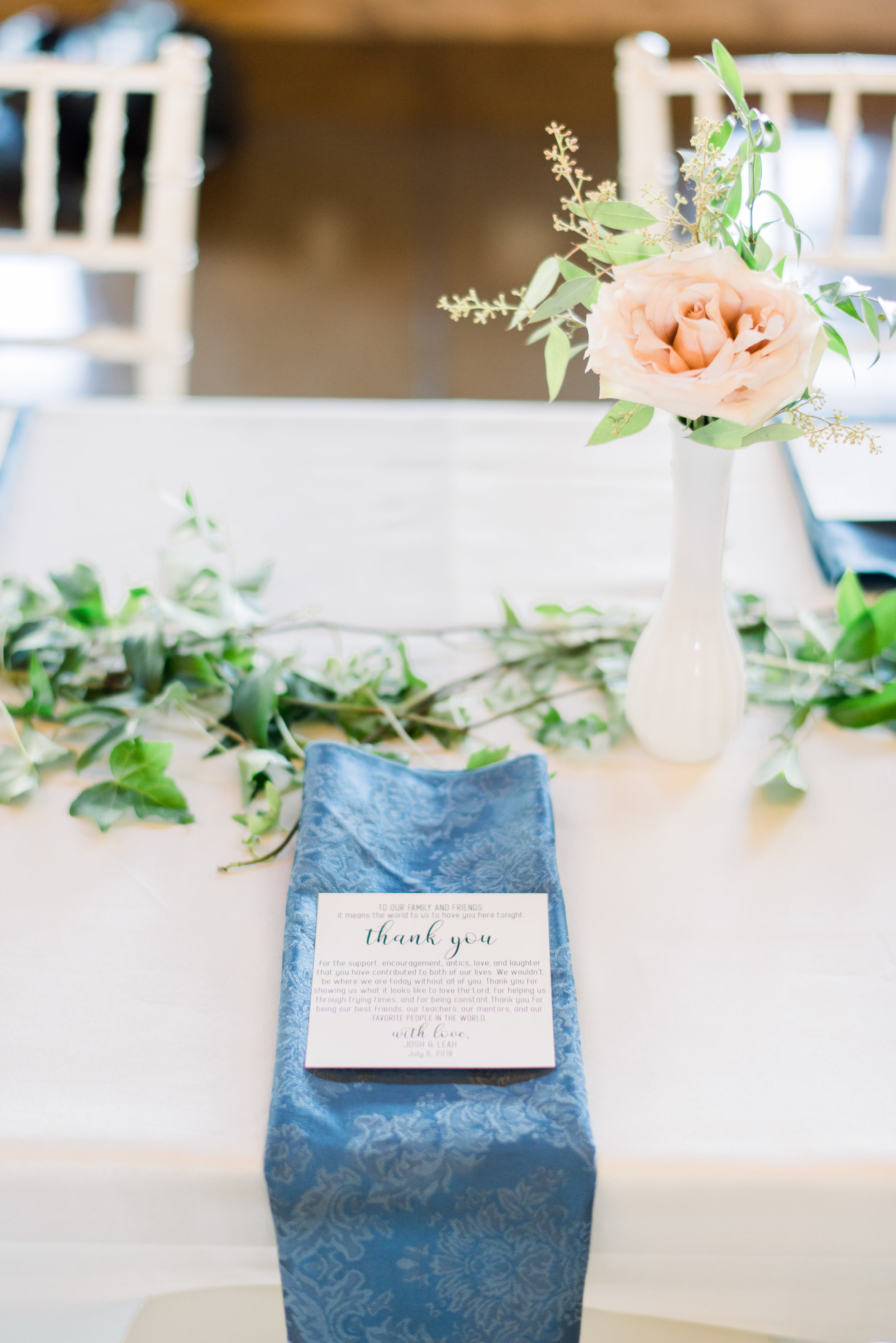 napkin place setting thank you card dusty blue wedding inspiration epoch co+ coordinators planners destination wedding