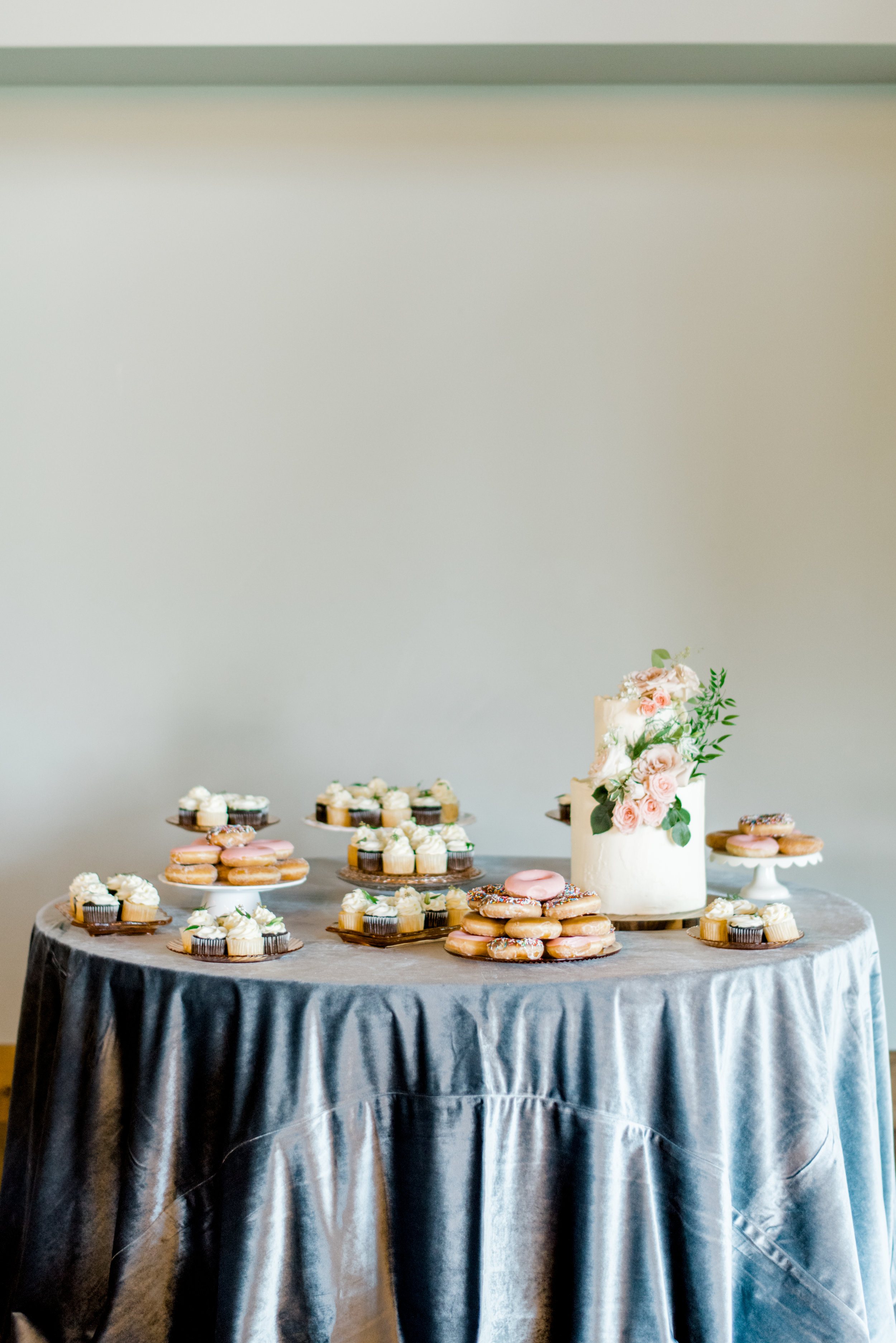 blue velvet dessert table + donuts + wedding cake + destination wedding planner coordinator epoch co+ Austin, Texas