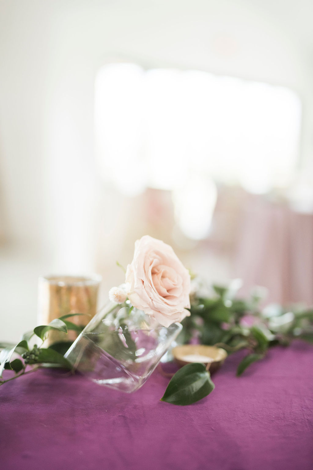 MODERN MINIMAL CENTERPIECE PURPLE VELVET WEDDING INSPIRATION COLLEGE STATION FLORIST URBAN RUBBISH EPOCH CO COORDINATOR