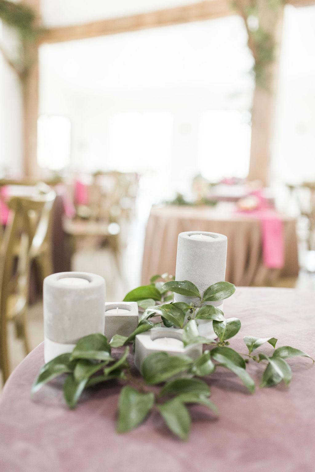 CONCRETE VOTIVE CENTERPIECE MODERN INDUSTRIAL WEDDING INSPIRATION COLLEGE STATION PLANNER EPOCH CO