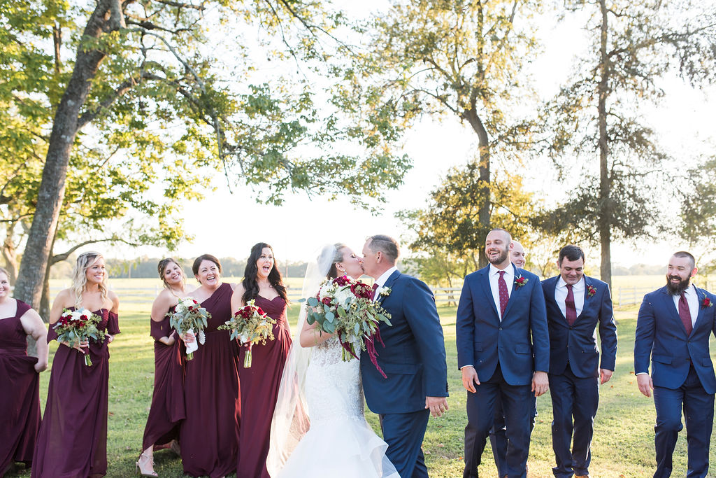 The Grand Texana Maroon and Blue Rustic Wedding | Houston