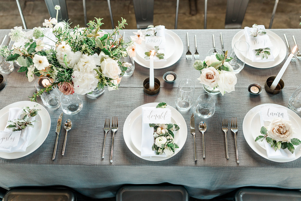 modern romantic industrial wedding inspiration grey white pink place setting austin houston wedding planner coordinator epoch co+
