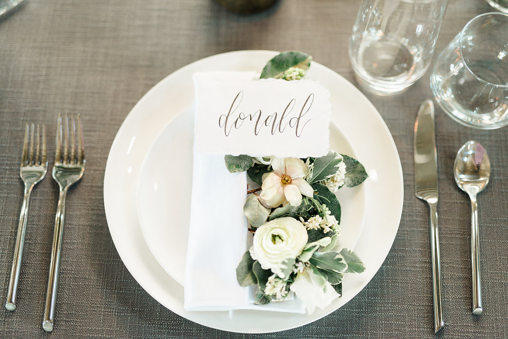 place setting floral wedding inspiration grey white blush silver modern industrial houston austin wedding planner coordinator epoch co+