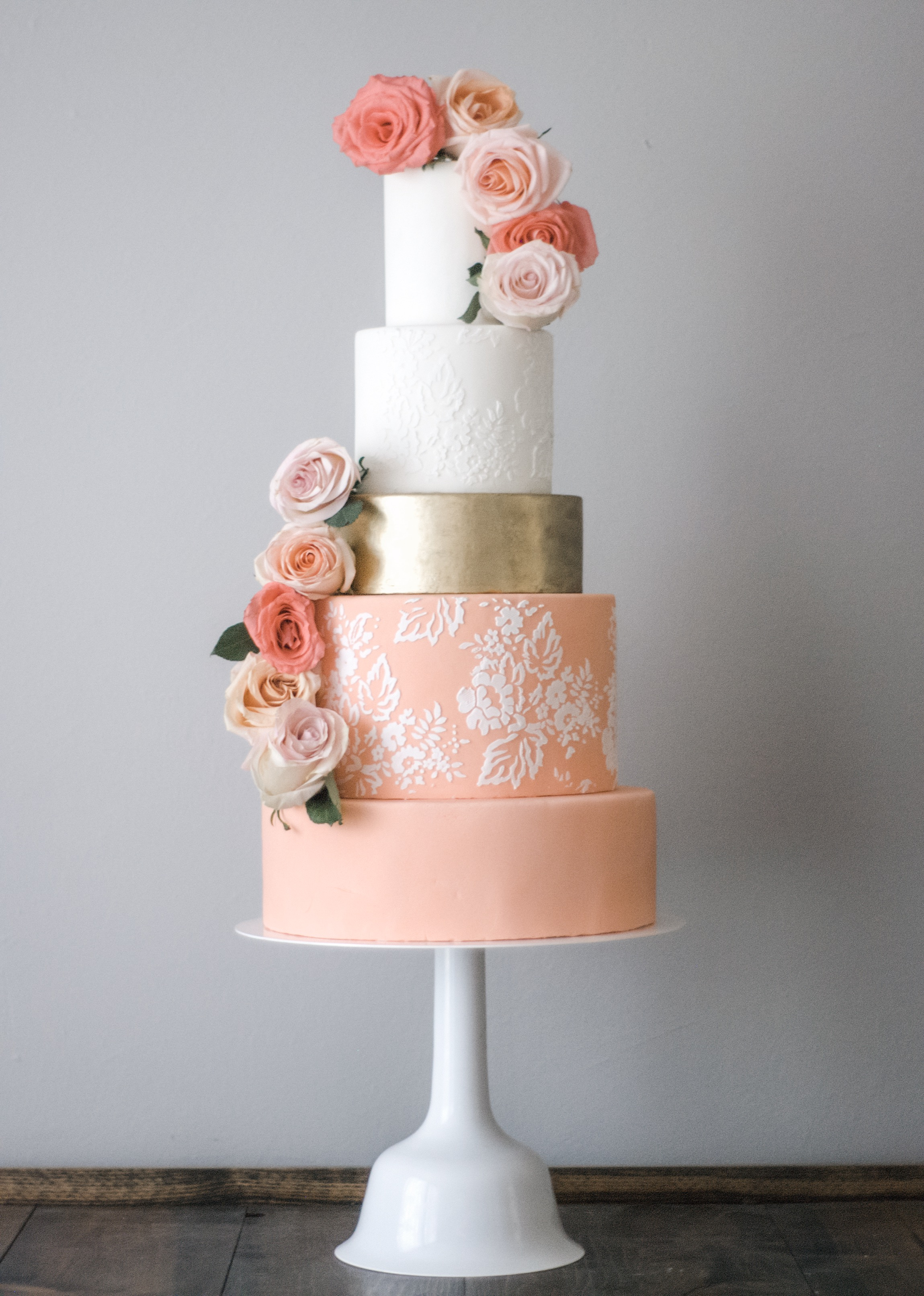 Peach coral gold Floral wedding Cake + destination wedding coordinator epoch co austin houston dallas fort worth college station texas