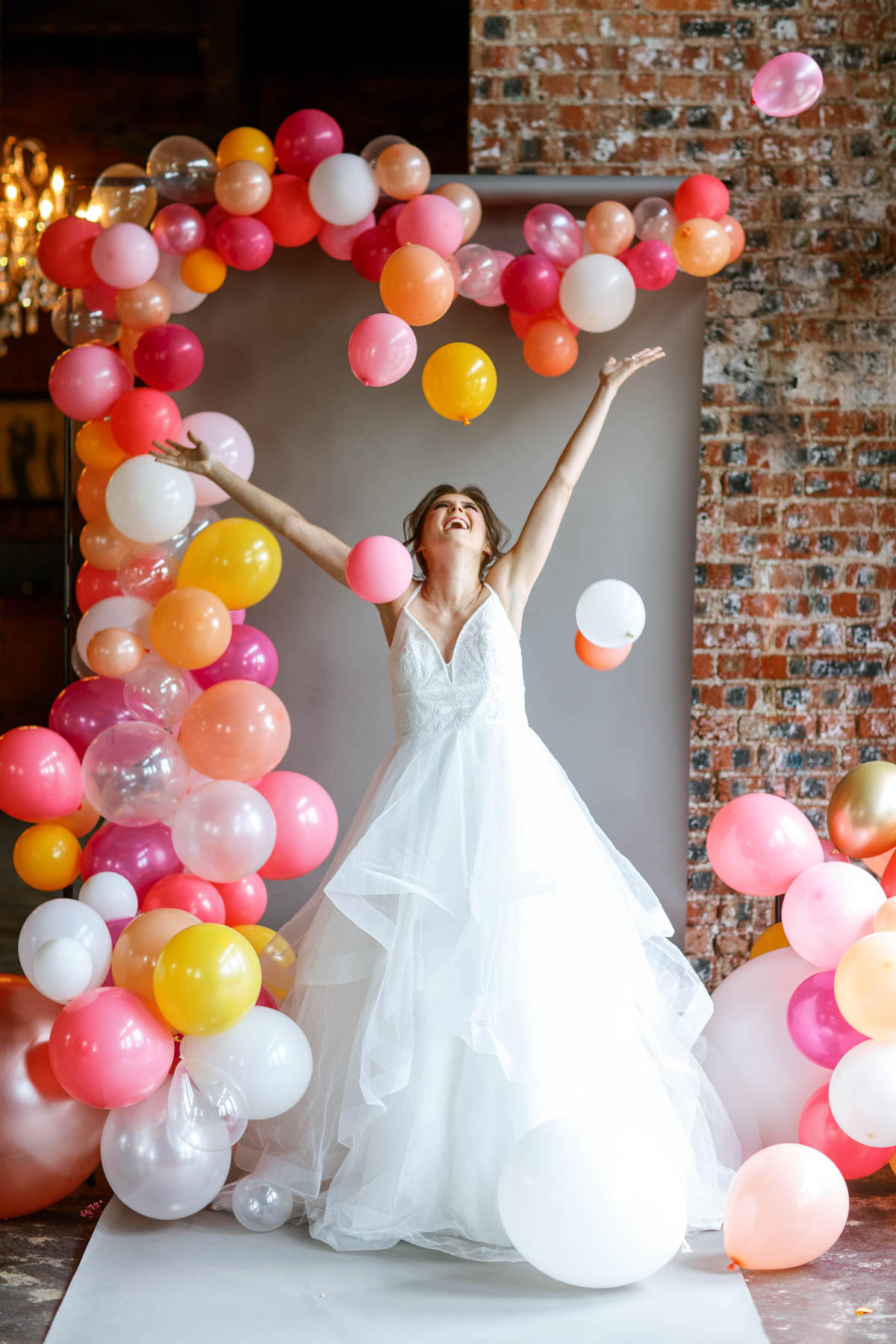 Vibrant Balloon Wedding Inspiration Coral Pink Gold White Texas Wedding Planners Epoch Co