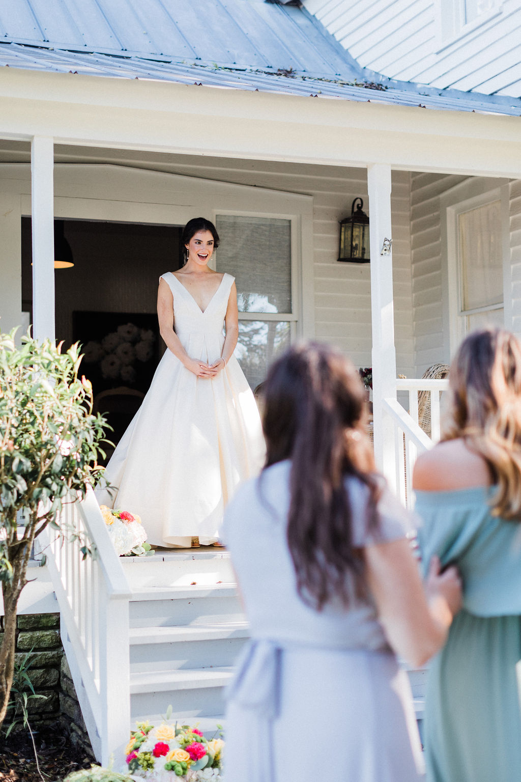 First look with bridesmaids wedding day austin mismatched bridesmaid dress inspiration + destination planner coordinator epoch co + photographer Bonner Rhae photo