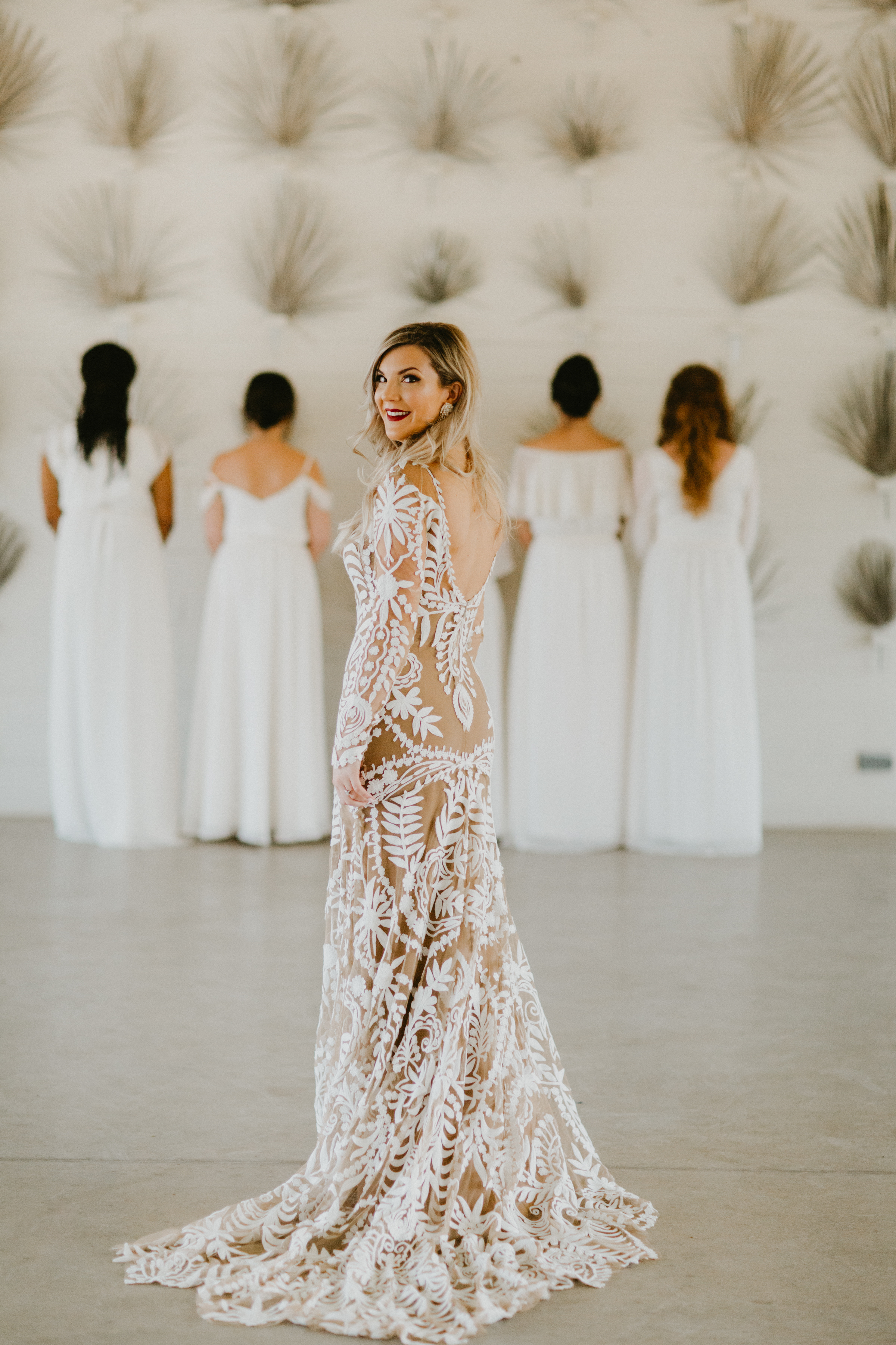 First look with bridesmaids wedding day austin mismatched bridesmaid dress inspiration + destination planner coordinator epoch co + photographer century tree prospect house