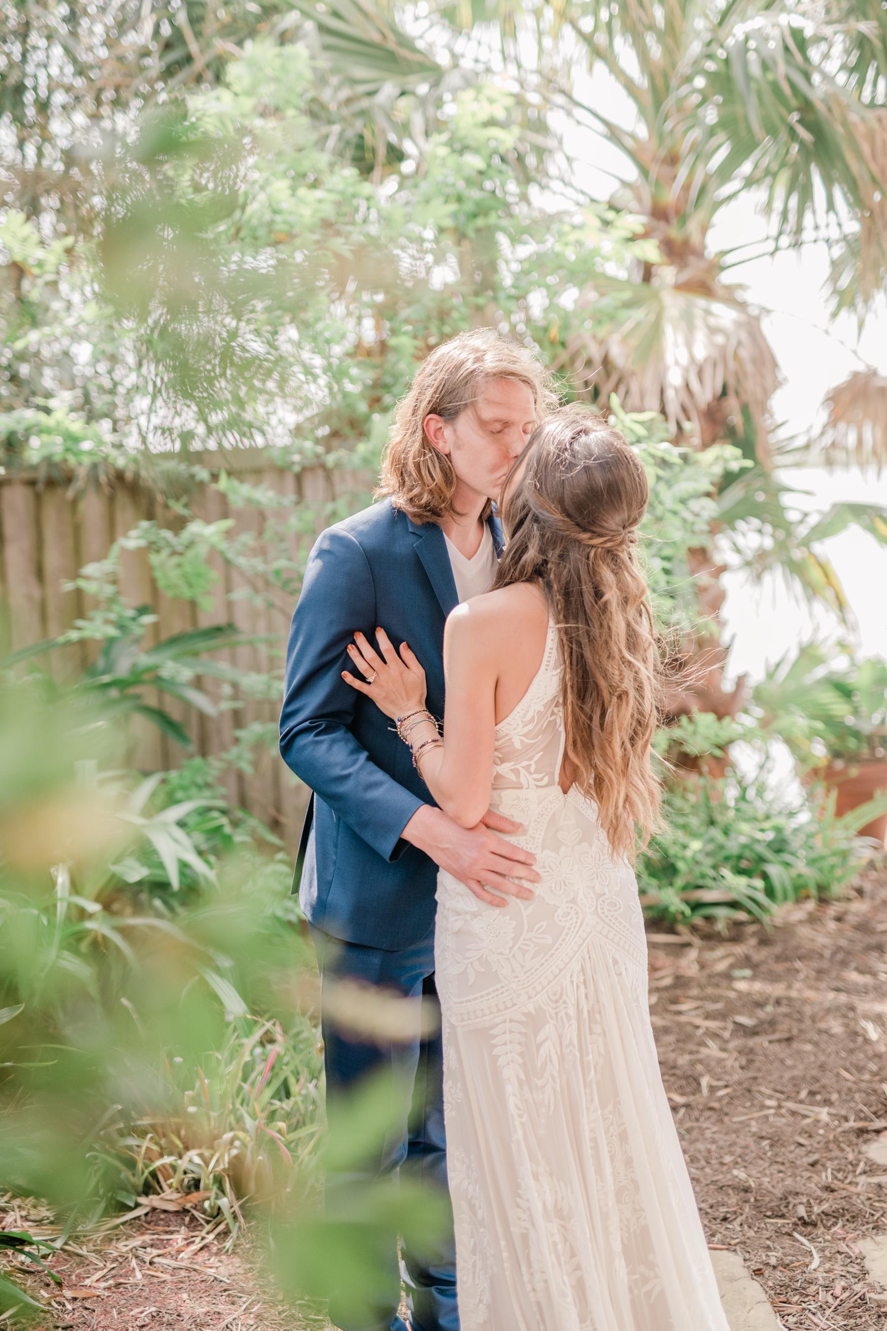 First look with groom wedding day beach galveston blue groom suit no tie inspiration + destination planner coordinator epoch co + ten23 photography