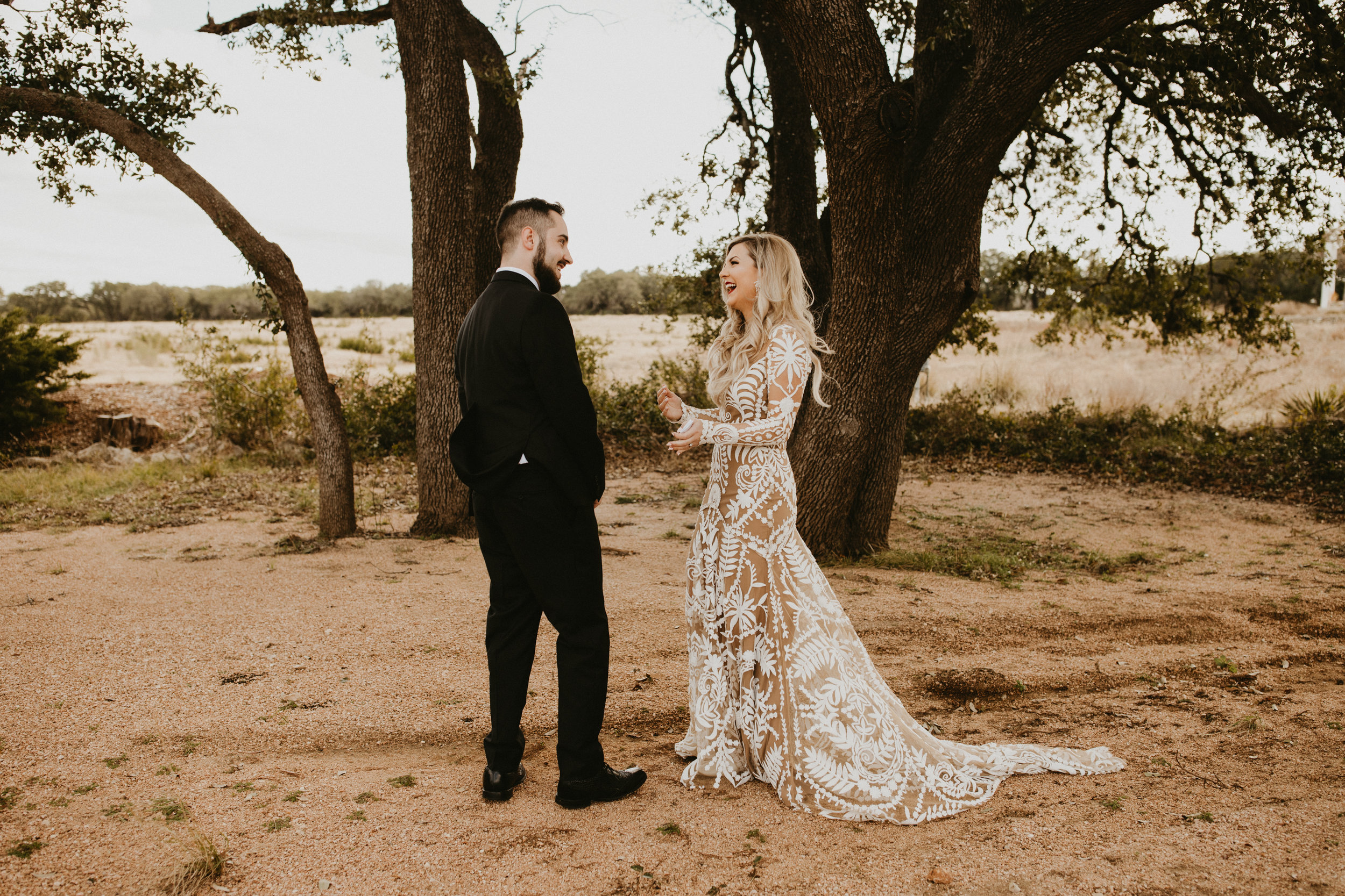 First look with groom wedding day prospect house austin texas + destination planner coordinator epoch co + century tree productions