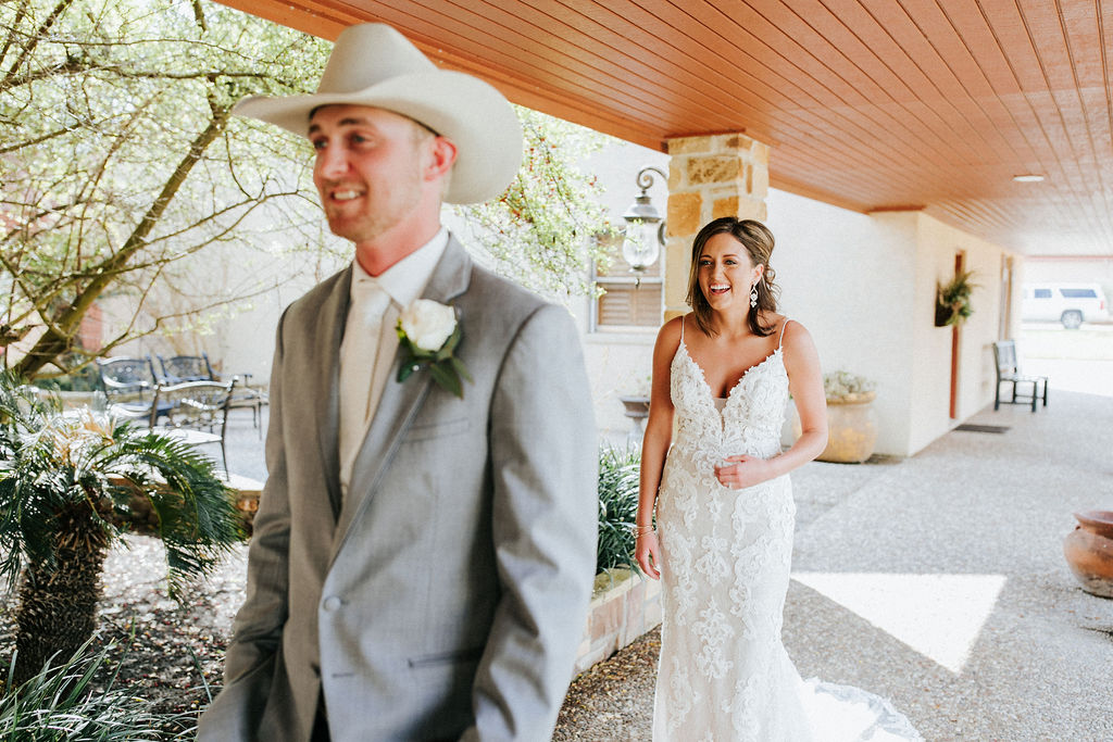 B&G(4of217).jpgEpoch Co+ Destination wedding planner | First Look Photo Ideas with Groom | Rockin Star Ranch, Brenham Wedding Venue | Velvet + Wire Photography | Austin Wedding Planner